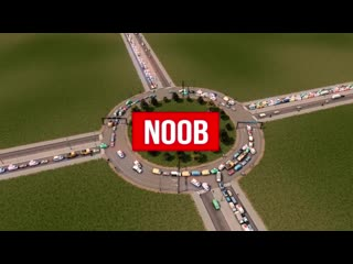Noob VS Pro VS Hacker - Building a roundabout in Cities_ Skylines
