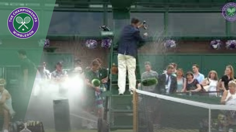 Sprinkler goes off, accidentally soaks players! | Wimbledon 2019