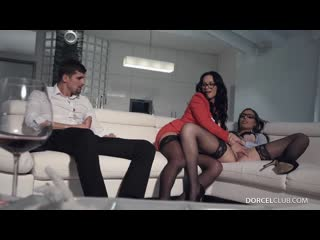 Carla Crouz  Rebeka in anal hot threesome [Brunette, High Heels, Stockings, Glasses, 3some, Anal, Cheating, Condom]