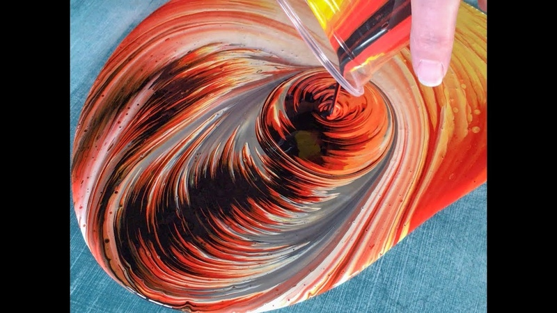 9 Fluid Painting Solar Fire Dirtycup Swirl pour on Wood