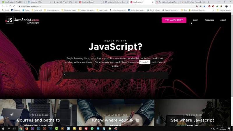 02 JavaScript Dersleri Faydali Siteler
