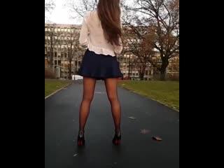Pantyhose and short dress