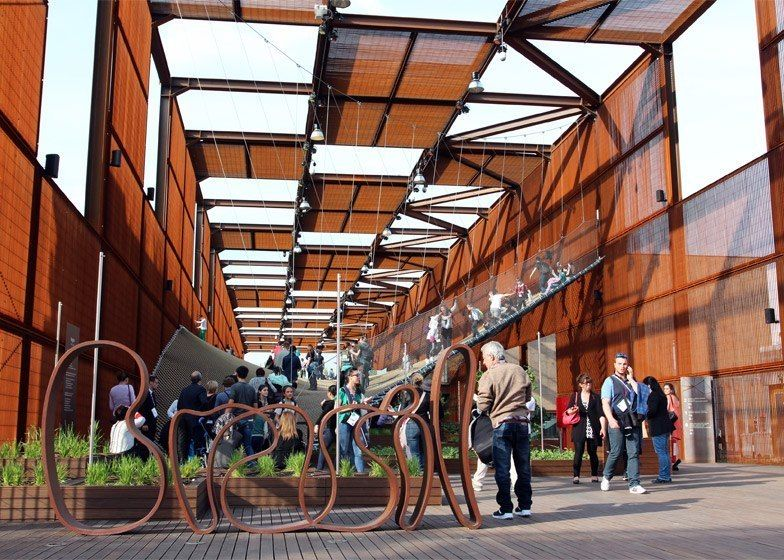 Brazil's Expo pavilion contains a bouncy landscape of suspended rope