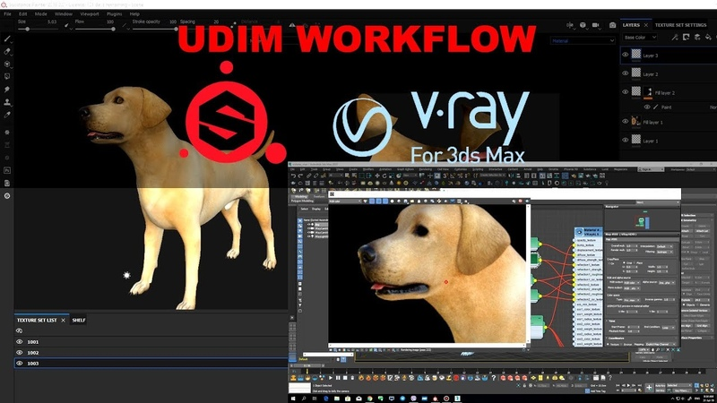 Substance Painter and 3dsmaxVRay Next UDIM workflow tutorial.