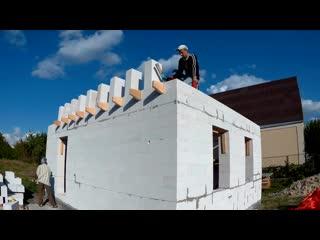 КАК построить ДЕШЕВЫЙ Дом СВОИМИ РУКАМИ Перекрытие Кладка Газоблока. часть 4