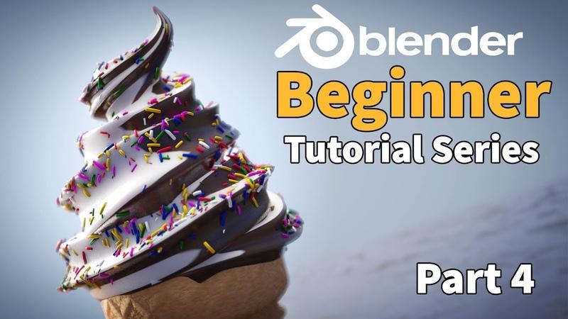 Blender 2.8 Beginner Tutorial - Ice Cream - Part 4 : Easy Node Materials