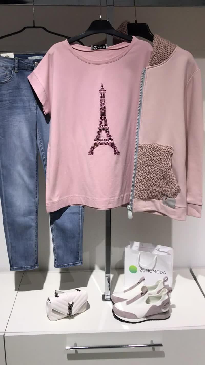 Футболка пудра эйфелева башня толстовка вязаный капюшон джинсы пушап