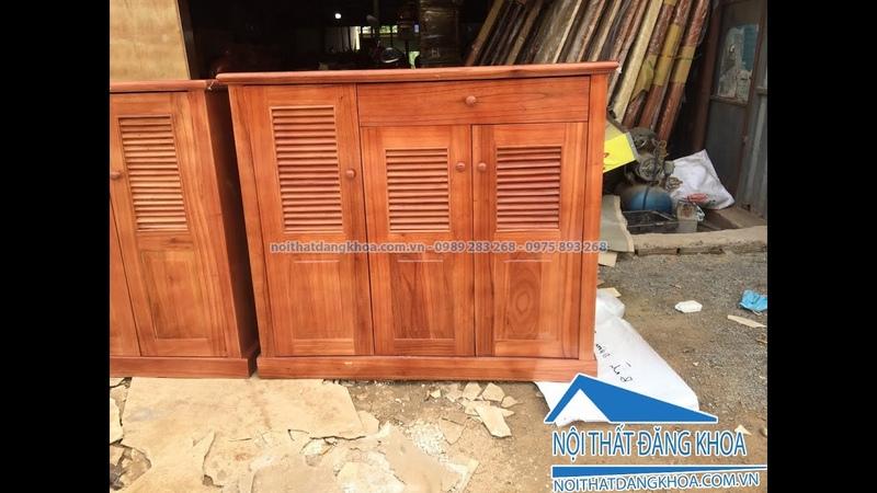 Tủ giầy gỗ xoan 3 cánh giá rẻ 950k tại bàn làm việc Đăng Khoa