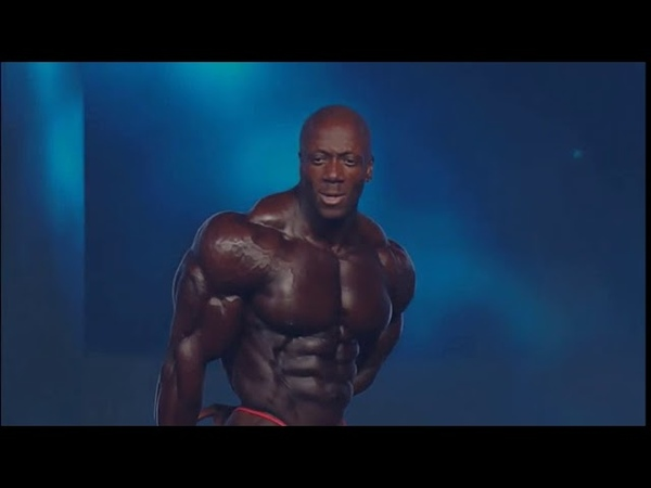 Shawn Rhoden Posing at 2018 Mr Olympia Finals
