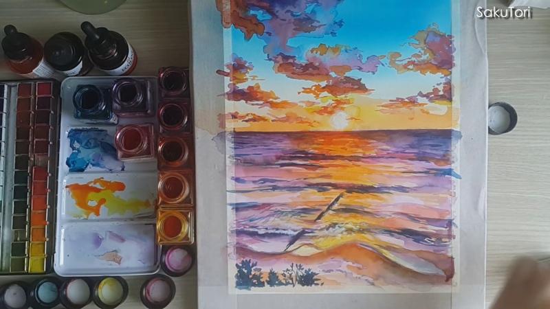 Baltic Sea watercolor landscape (speedpaint by SakuTori)
