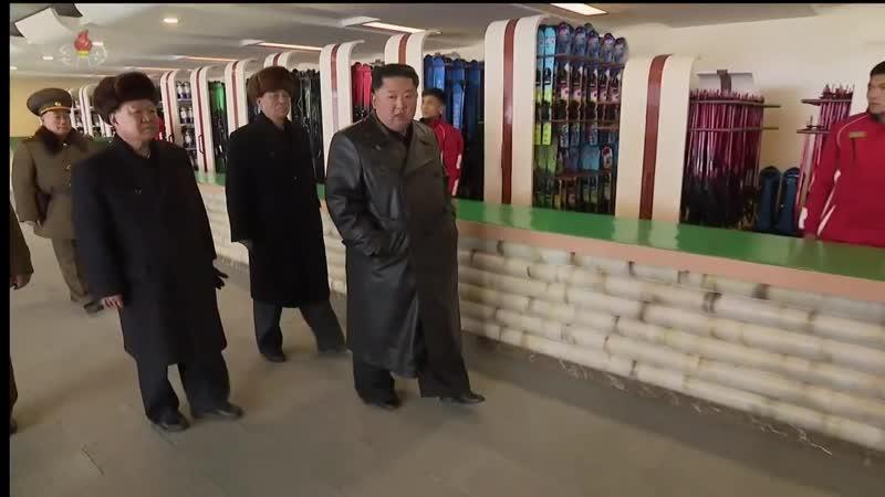 KCTV Kim Jong Un oversees opening of Yangdok Hot Springs and ski resort