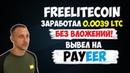 Freelitecoin кран, собрал 0.0039 LTC и вывел на Payeer кошелек