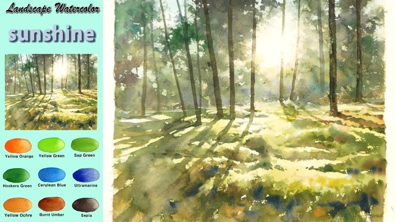 Without Sketch Landscape Watercolor - sunshine (wet-in-wet, Arches rough) NAMIL ART