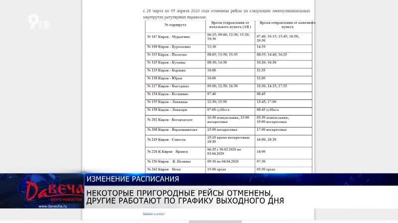 Давеча от 31.03.20 Изменение расписания пригородных автобусов