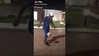 Shatta Wale shows off his football skills