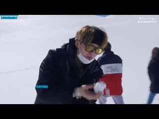 Yoongi examining the flavor of the snow