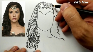 ASMR drawing wonder woman , How to draw hero justice league snyder cut