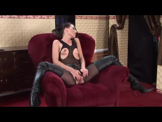 Lorena Garcia self fingering in high boots [Brunette, Small Tits, High Heels, Pantyhose, Leather, Masturbation, Orgasm]