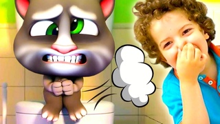 My Talking Tom took Dad to tablet | Leo plays the game My Talking Tom in REAL LIFE