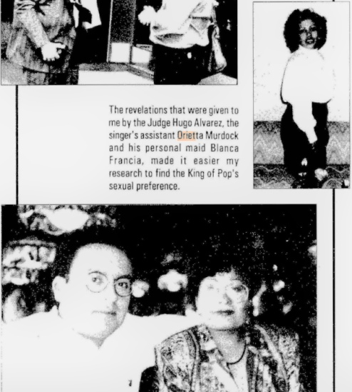 """Виктор Гутьеррес и его коллеги-Ориетта Мердок (выше) и Бланка Франсия [из книги Гутьерреса """"Майкл Джексон был моим любовником"""", 1996 год]"""