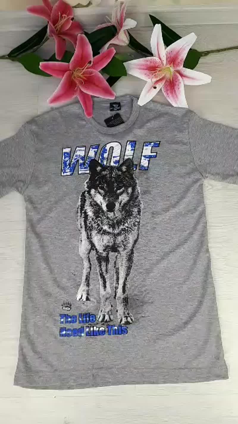 футболка мужская с принтом волк в полный рост