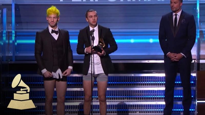 Twenty One Pilots Wins Best Pop Duo Group Performance Acceptance Speech 59th GRAMMYs