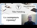 Как скопировать страницу Тильда Бесплатный Конструктор для Создания Сайтов