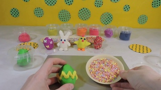 Making DIY Easter eggs from modeling clay Hobby time Happy Easter