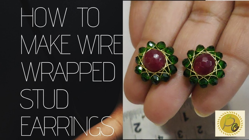 Wire Wrapped Stud Earrings How to make Stunning Ear stud