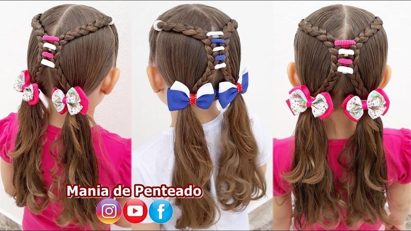Penteado Infantil Fácil e Rápido com Amarradinhos para Escola Quick and Easy Hairstyle for School