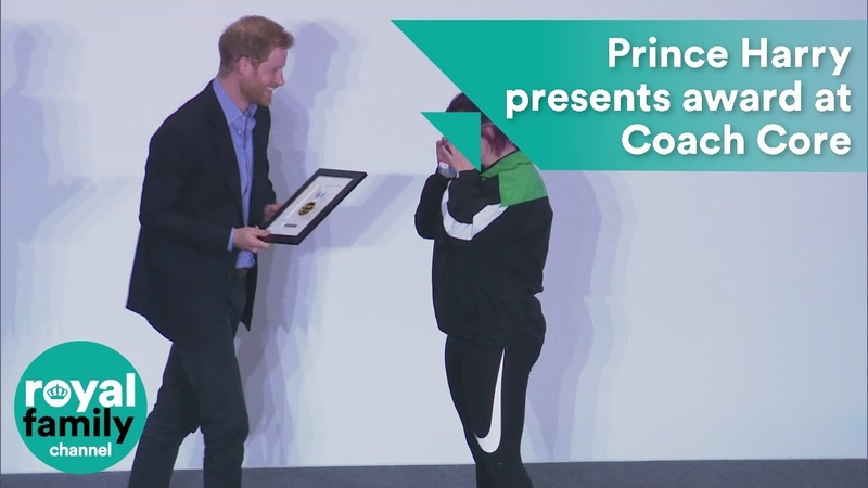 Emotional moment Prince Harry presents award at Coach Core