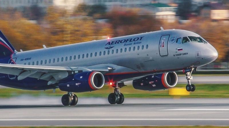Красивые посадки самолетов с близкого расстояния на новую полосу 24R в аэропорту Шереметьево 10 2019