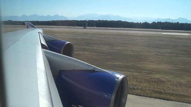 Трансаэро Боинг 747 400 Взлёт из Анталии