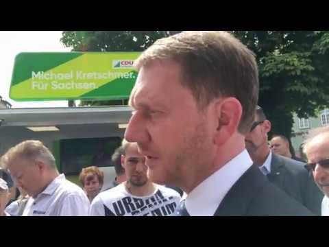 Korruptions- und Scientology-Vorwürfe Sachsens CDU-Ministerpräsident Kretschmer in Zwickau