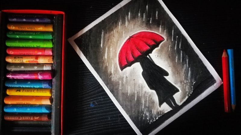 Rainy season scenery oil pastel drawing girl with umbrella oil pastel drawing