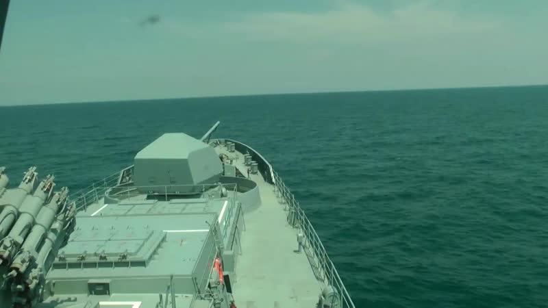 Стрельбы берегового комплекса «Утёс» и фрегата «Адмирал Макаров» в Черном море.