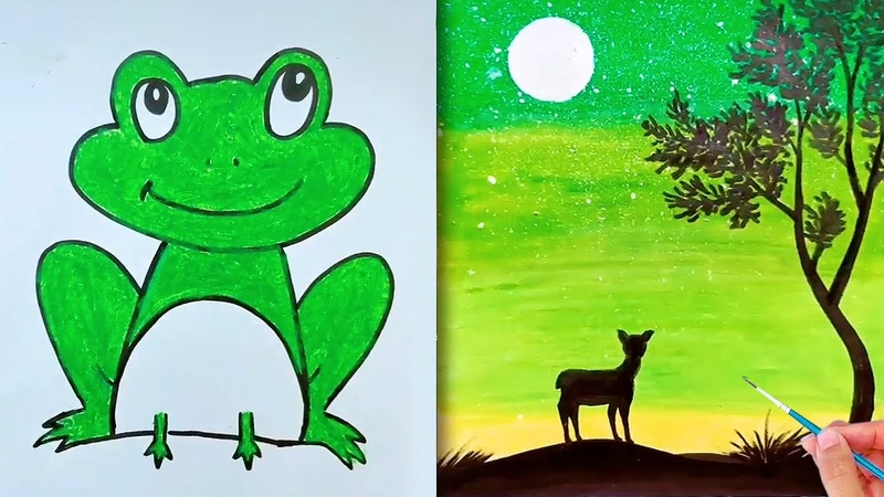 Hướng dẫn b vẽ con vật 01 dạy b t màu teach kids to draw and color Vẽ tranh bằng sáp dầu