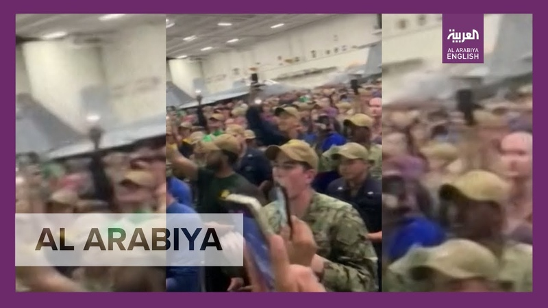 Captain Crozier cheered by sailors from USS Theodore Roosevelt