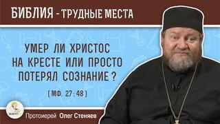 Умер ли Христос на кресте или просто потерял сознание ? (Мф. 27:48)  Протоиерей Олег Стеняев