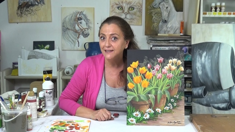 Cómo pintar tulipanes y margaritas