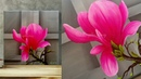 SIMPLE Acrylic Painting demonstration How to paint Magnolia Acrylic blending