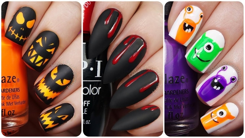 20 Easy Halloween Nail Art Designs for short nails 🎃How to Paint your Nails! Diy Nail Art tutorial