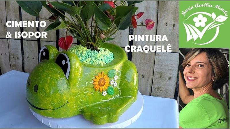 DIY VASO SAPO DE CIMENTO E ISOPOR técnica de pintura craquelê com cola branca PVA