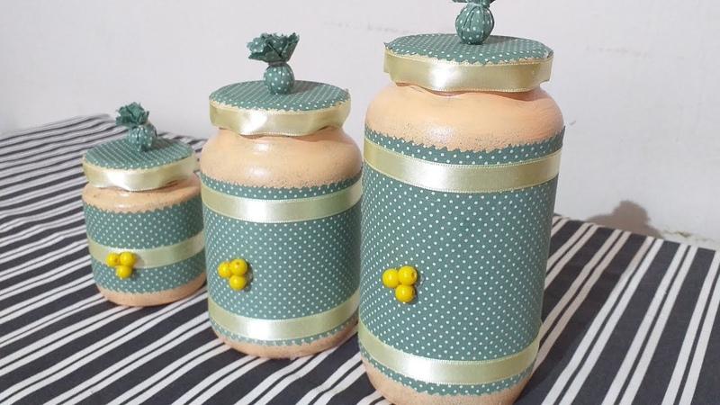 Potinhos decorados Reciclando vidros