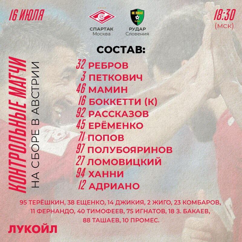 Состав «Спартака» в матче с «Рударом»