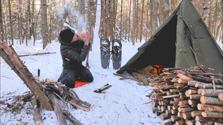 SOLO WINTER BUSHCRAFT CAMP- Post Ice Storm, Bowdrill, Canvas Tipi Shelter