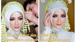 Tutorial hijab pengantin soloputri muslim tanpa paes