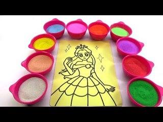AI THƯƠNG CON NHIỀU HƠN!Nhạc thiếu nhi! Tô màu tranh cát hình CÔNG CHÚA Color Sand Paint