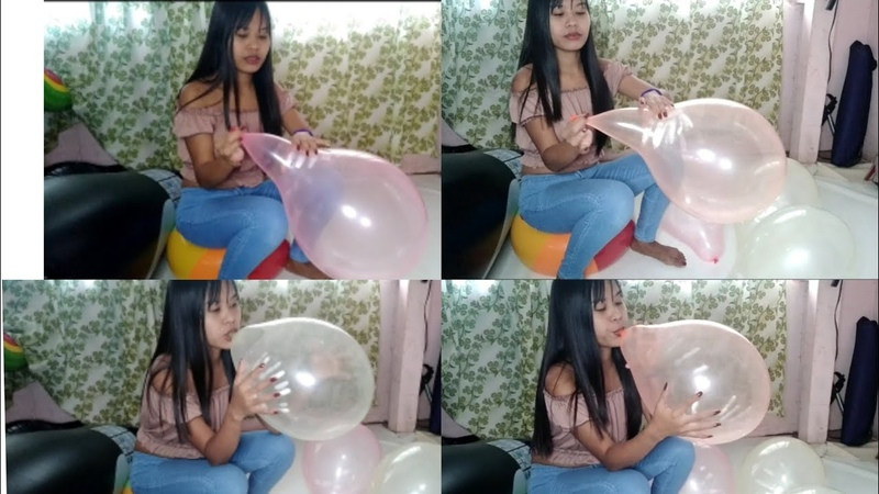 Blowing Up Colorful Transparent Balloons part 1 Beach Ball