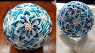 DIY Temari Ball Blue Snow Tutorial 手鞠球蓝色的雪教程